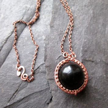 Wire Wrapped Rainbow Obsidian Pendant on Copper Iron Chain, Round Black Copper Wire Weaved Necklace, Dark Crystal Volcanic Glass Jewellery
