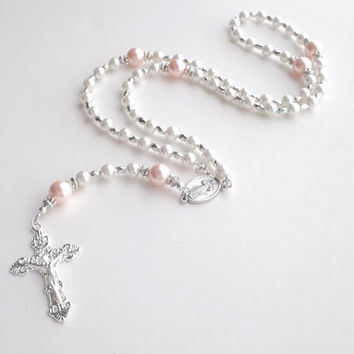 White and Pink Pearl Five Decade Catholic Rosary Easter Religious Jewelry