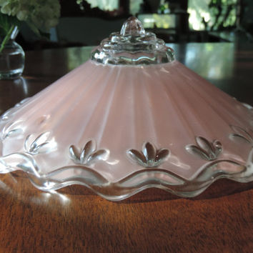 Antique Glass Ceiling Fixture Shade 1940's Frosted Pink Glass Light Shade