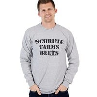 Schrute Farms Beets Heather Gray Adult Long Sleeve Shirt