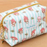 white turquoise striped My Melody cosmetic case Japan - Pencil Cases - Stationery
