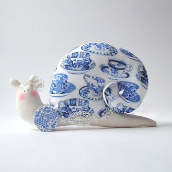 Animal Snail toy, handmade plush toy in willow pattern cloth. White blue fabric. Toy for  for home decor, lovely gift for anybody
