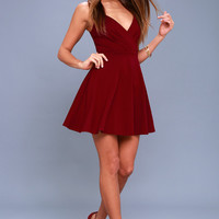 Generosity Burgundy Skater Dress