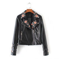 Women's Washed PU Leather Jacket Basic Turn-down Collar Long Sleeve Zipper Motorcycle Jackets Ladies Floral Embroidery Outerwear