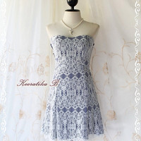 Sexy Night Life - Gorgeous Strapless Mini Dress White Lace With Royal Blue Party Dinner Night Dancing Wedding Bridesmaid Dress XS