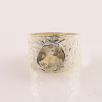 White Quartz Sterling Silver Band Ring - keja jewelry