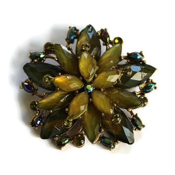 Vintage Flower Brooch Rhinestones In Green and Iridescent Blue