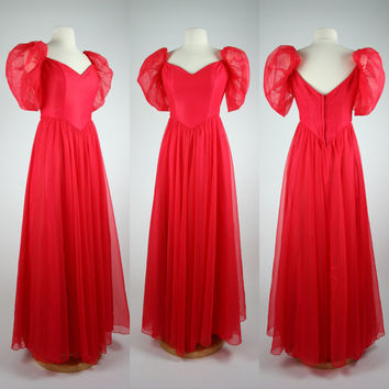1980's red prom dress 80's chiffon formal gown floor lenth w puff sheer sleeves sweetheart neckline cinched waist size small size 6
