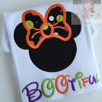 Not So Scary Halloween shirt or bodysuit for girls -- Miss Mouse ears with polka dot Halloween fabric bow