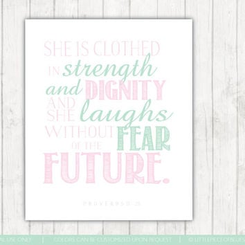 She is Clothed In Strength And Dignity Proverbs 31:25. Christian Poster Bible Verse Little Girl Wall Decor Pink and Mint Wall Art