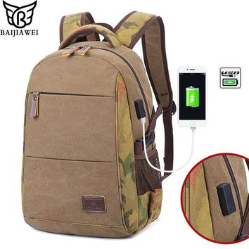 BAIJIAWEI 2018 New Canvas Breathable Backpack USB Charging Backpack Men Travel Laptop Bag Male Casual College Backpack