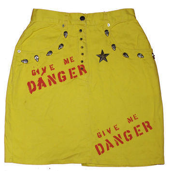 Punk Yellow Denim Skirt - Give Me Danger -Studded Skull Studs- Bright Coloured Denim Mini Skirt-