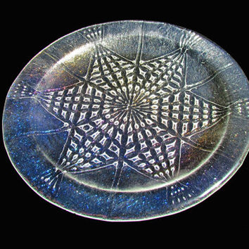 Bubble Mandala Plate, Star Pattern Embedded in Clear Iridescent Glass Plate, Decorative Rainbow Dish