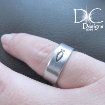 Fish Ring - Hand Stamped Ring - Christian Ring - Fish Jewelry - Religious Gift - Religious Jewelry - Christian Jewelry
