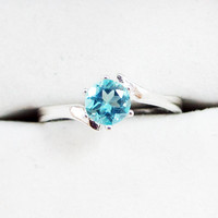 Apatite Bypass Solitaire Ring - Sterling Silver