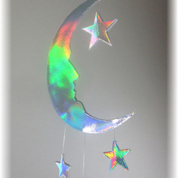 Peter Pan Ombre Could Nursery Mobile- Nursery Bedding, Neutral Nursery Decor, Baby Shower Gift,  Moon and Stars Mobile, Cloud Mobile