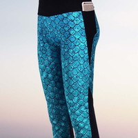 Mermaid Capris Leggings Blue/Green Fish Scale Yoga Pants