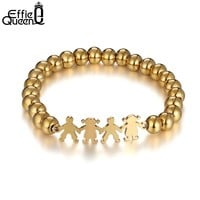 Effie Queen Lovely Figure Charm Bracelets for Women New Gold Color Stainless Steel Beaded Bracelet Metal Jewelry IB106