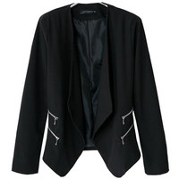 'The Adeline' Black Double Zipper Long Sleeve Blazer