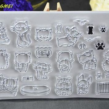 Lovely dog / cat Clear Silicone Stamp for DIY scrapbooking/photo album Decorative craft