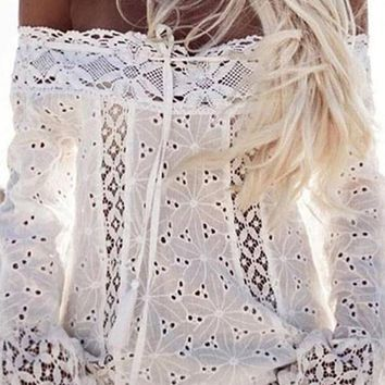 Off Shoulder Lace Hollow Out Beach Tops