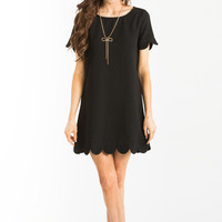 Victoria Black Scallop Shift Dress