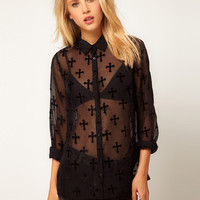 Black Sheer Mesh Lapel Collar Button Up Long Sleeve Blouse