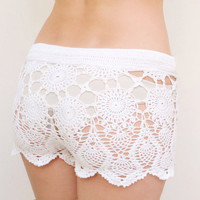 Crochet beach shorts in cotton Custom made to order