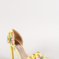Qupid Floral Pointy Toe Dorsay Pump Color: Yellow Multi, Size: 7