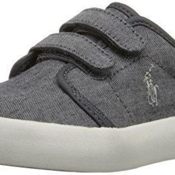 Polo Ralph Lauren Kids Ethan Low EZ Fashion Sneaker (Toddler), Grey, 6.5 M US Toddler