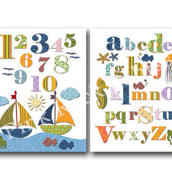 Nursery alphabet poster nursery numbers poster wall numbers for baby room abc print nautical nursery art playroom decor baby room wall decor