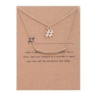 Double Pendant Card Alloy Clavicle Pendant Necklace 171208