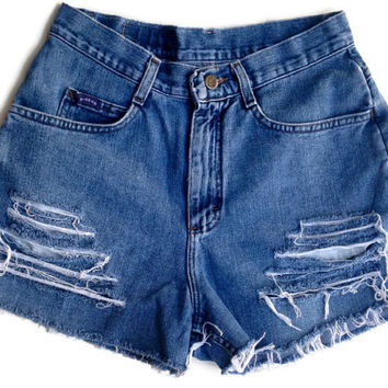 High Waisted Denim Shorts Size 6/7 Vintage Ripped Distressed Hipster Tumblr