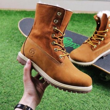 Best Online Sale Timberland Authentics Waterproof Fold DownShearling Bright Yellow Mid Boots Outdoor Sneaker