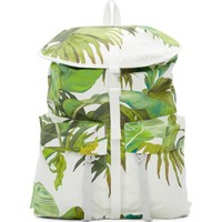 White Banana Leaves Print Backpack