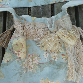 Large Shabby Chic Drawstring Lined Crossover Shoulder Purse Boho Bohemian Hippie Gypsy Purse