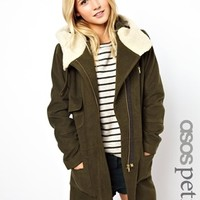 ASOS PETITE Exclusive Patched Wool Parka with Fur Lining - Khaki/gray