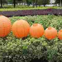 Pack of 12 Mixed 12'' and 8'' Chinese Round Paper Lanterns with Mini LED Party Light for for Wedding Party Floral Event Sky Decoration Color Orange
