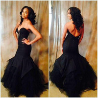 Long Mermaid Black Beading Prom Dresses,Prom Dress