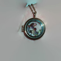 Real Colored Gemstone Parcel Mixture Inside Charm Locket Pendant Gold Tone with Chain Garnet Peridot Citrine