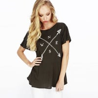 Compass Print Short Sleeve Backless Ruched Graphic Tee