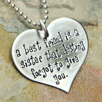 Handstamped Friendship Necklace  Friendship by JoyBelleJewelry