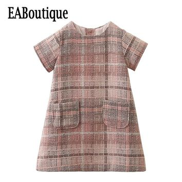 EABoutique New 2017 Vintage fashion Elegant plaid woolen fabric with pocket girls winter dress