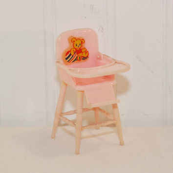 Vintage Miniature Pink Plastic Highchair, A Renwal Product (c. 1950's) Vintage Doll House Furniture, Baby Girl Shower, Cake Topper, Nursery