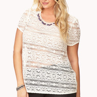 Elegant Bejeweled Lace Top