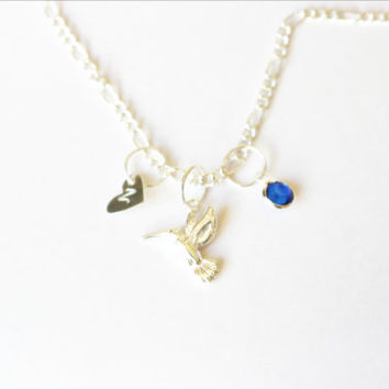 Personalized hummingbird necklace.Initial necklace.Monogram necklace.Personalized necklace.Custom necklace.Birthstone necklace.Bird necklace