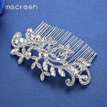 Flower Crystal Wedding Hair Accessories Silver Color Bridal Hair Combs Crown Tiara Jewelry