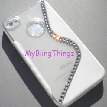 Simply Exquisite Crystal Diamond Bling Rhinestones on White & Clear Gummy S-Line Case for Apple iPhone 4 4G 4S made with Swarovski Elements