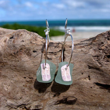 Hawaiian Thick Aqua Beach Glass with Purple Sea Urchin Spicules on Silver Plated Circular Wire Small Hoop Earrings