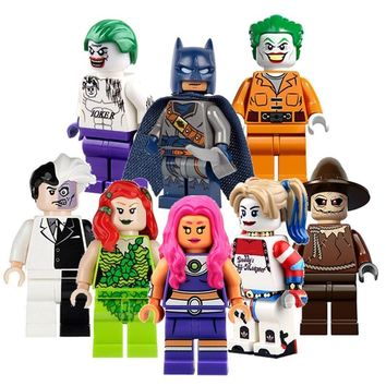 CZHY Suicide Squad Arkham Asylum Joker Harley Quinn Two Face Poison Ivy Scarecrow Starfire Blocks Toys For Children PG8013